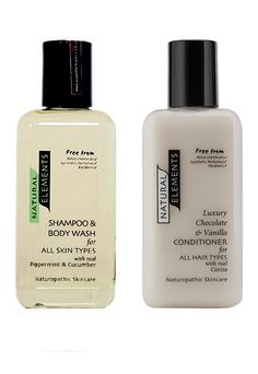 Natural Elements - Shampoo Peppermint & Cucumber  Chocolate & Vanilla Hair Conditioner