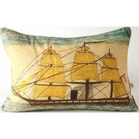 Yellow Sails Ship Pillow