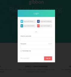 Login Modal from Gibbon | PatternTap | ZURB Library