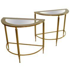 Elegant French Demi-Lune Brass Tables