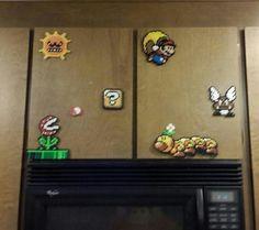 Mario perler bead set-up.