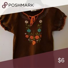 Girls Short Sleeve Sweater Brown with turquoise & coral embroidery Cato Shirts & Tops Sweaters