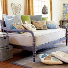 World Market Daybed as a sofa! Comfy deep seating & an extra bed for company!