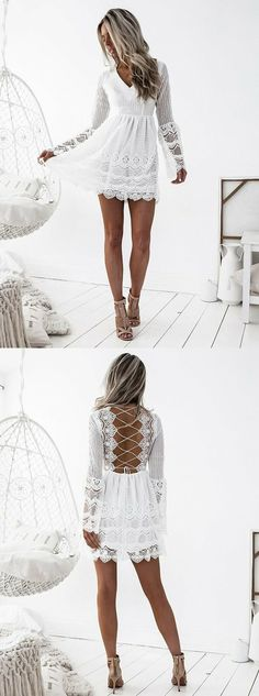long sleeve white homecoming dress,simple lace short prom dresses,sexy criss