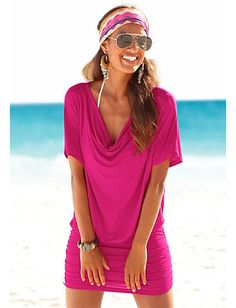 Lascana - LASCANA Minikleid mit Wasserfallausschnitt pink im Heine Online-Shop kaufen