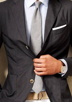 grey suit, blue-grey shirt, light grey tie. gorgeous.