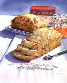 이름 알 수 없음 by Irena Roman <Section 4 유혹> 파운드 케이크로 추정되는 빵이 아주 먹음직스럽게표현되었습니다. 마치 집어 먹으라고 유혹하는듯이 빵이 한입 크기로 잘라져 있습니다.