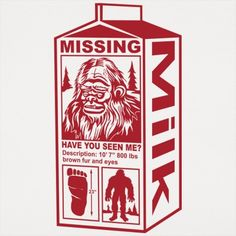 Sasquatch Milk Carton T-Shirt by 6 Dollar Shirts. Thousands of designs available for men, women, and kids on tees, hoodies, and tank tops. Bigfoot Pictures, Finding Bigfoot, Bigfoot Sasquatch, Bigfoot Toys, Mothman, Extinct Animals, Cryptozoology, Cartoons, Artsy