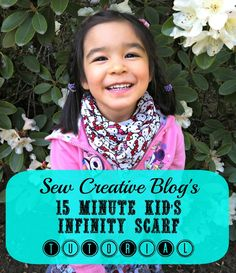 Sew Creative Blog's 15 Minute Kid's Infinity Scarf Sewing Tutorial. Make 3 double loop infinity scarves with just 1 yard of fabric. A quick and easy sewing project.