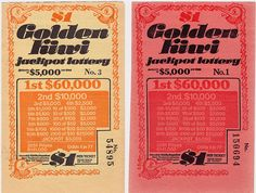 Golden Kiwi Tickets - $1. Nanna bought these every week from the bookshop. Should would check the numbers on a Wednesday newpaper.