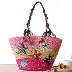 Bohemian Starfish Embroidery Straw Handbag