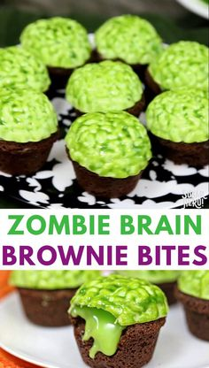halloween desserts Zombie Brain Brownie Bites are bite-sized brownies, topped with a bright green zombie brain that oozes green chocolate slime when you bite into it! Dessert Halloween, Halloween Treats For Kids, Halloween Party Snacks, Halloween Appetizers, Appetizers For Party, Halloween Recipe, Halloween Halloween, Women Halloween, Halloween Projects