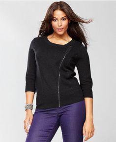$89.50 INC International Concepts Plus Size Sweater, Three-Quarter-Sleeve Moto Zipper Cardigan - Womens Sweaters - Macy's