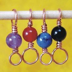 Gemstone Beaded Copper Stitch Markers