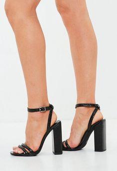 7e97a98e147 Black Metallic Square Block Heel Sandals Ankle Strap Heels