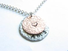 2 Hammered Necklace Personalized Hand Stamped Custom Pendant