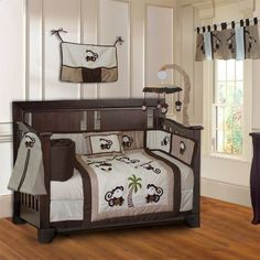 Babyfad Monkey 10 Piece Boys Baby Crib Bedding Set With Musical Mobile