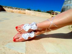 Wedding  Barefoot Sandals, Nude shoes, Foot jewelry, Wedding, Victorian Lace, Sexy, Yoga, Anklet , Bellydance, Steampunk, Beach Pool