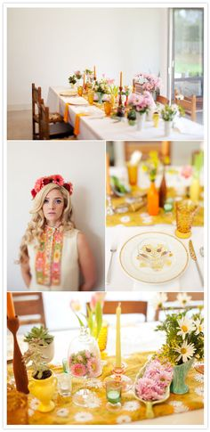 multiple colored jars and flowers in everything LOVE the yellow orange sunny daytime tablescape & flower head crown night too!