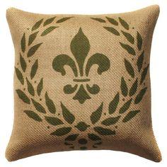 Fleur De Lis Burlap Pillow.