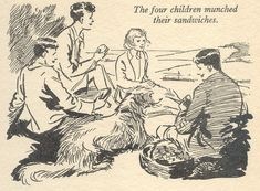 Five and a Half-Term Adventure by Enid Blyton. Illustration by Eileen Soper from Enid Blyton's Magazine Annual 3 Enid Blyton Books, The Famous Five, Poetry Art, Classic Literature, Lectures, Children's Book Illustration, Vintage Books, Illustrations Posters, Childhood Memories