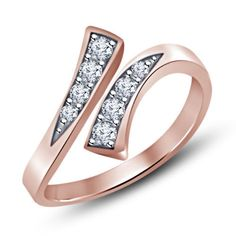 Rose Gold over 925 Silver White Sim Diamond Prong-Set Bypass Adjustable Toe Ring #Unbranded