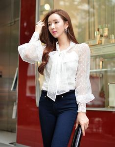 White Bow Collar Lace See Through Designer Shirt - SoFashioningSoFashioning Blouse Styles, Blouse Designs, Sleeves Designs For Dresses, Beautiful Blouses, Elegant Outfit, Fashion Outfits, Womens Fashion, Classy Outfits, Asian Fashion