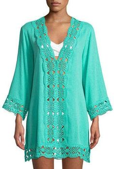 LaBlanca La Blanca Embroidered-Inset Tunic Coverup The post La Blanca Embroidered-Inset Tunic Coverup appeared first on Bikini Photos. Swim Cover Ups, Diy Kleidung, Diy Mode, Denim Fashion, Womens Fashion, Beachwear, Winter Outfits, Tunic Tops, My Style