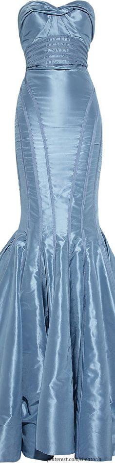 Glamour Gowns / karen cox. Billionaire Club: Zac Posen ● Blue Strapless Taffeta Fishtail Gown