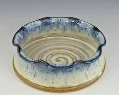 Handmade pottery Brie Baker, Blue Cream Glaze   Giftedpottery.com