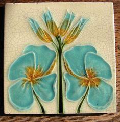 Vintage Art Nouveau Tile Aqua and Goldenrod Flowers on Cream Background - Art Tile - Decorative Tile