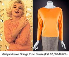 Marilyn Monroe Orange Pucci blouse, estimated at $7-$10,000