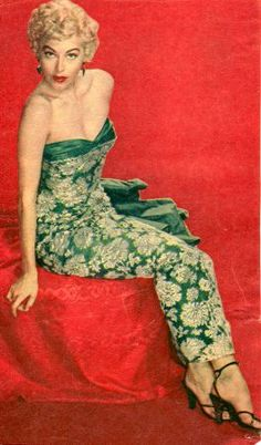 Ava Gardner, blonde,1950's, pinup, glamour, red, green, satin, lace, vintage