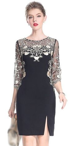 Party embroidery O-neck sleeve slit, bodycon dress - Bodycon Dresses Elegant Dresses, Beautiful Dresses, Nice Dresses, Short Dresses, Dresses With Sleeves, Casual Dresses, Dress Sleeves, Women's Fashion Dresses, Dress Outfits