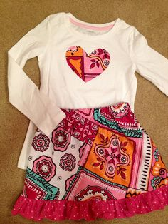 Pink heart shirt and skirt on Etsy, $30.00