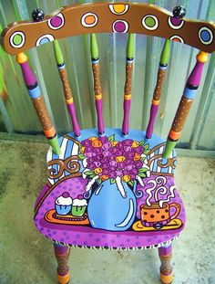 Painted Chair with vase of purple flowers, teacup and cupcakes Whimsical Painted Furniture, Hand Painted Chairs, Painted Stools, Hand Painted Furniture, Painted Dressers, Art Furniture, Funky Furniture, Colorful Furniture, Furniture Makeover