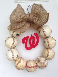 Washington Nationals Burlap Baseball Wreath on Etsy, $48.00