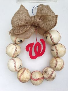 Washington Nationals Burlap Baseball Wreath by NTgoodthings
