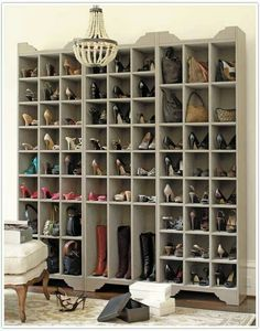 Shoe closet. I love the use of space for the tall boots!!!