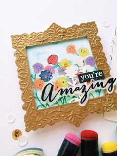 Sabrina Alery shares how to make a card inspired by a gallery type painting and features Clearsnap-Spellbinders.