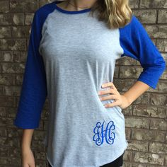 My favorite monogrammed vintage baseball tee also comes in royal blue!