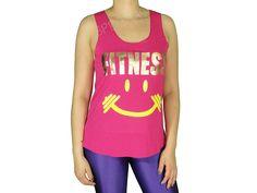 Regatas Femininas | Regata Cavada Longa Fitness Smile Pink  .Acesse: http://www.spbolsas.com.br/atacado/ #Regatas #Femininas #Atacado