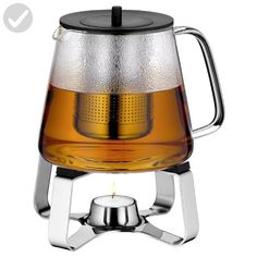 WMF Teatime Teapot and Teapot Warmer 46oz Glass and 18/10 Stainless Steel - Kitchen gadgets (*Amazon Partner-Link)