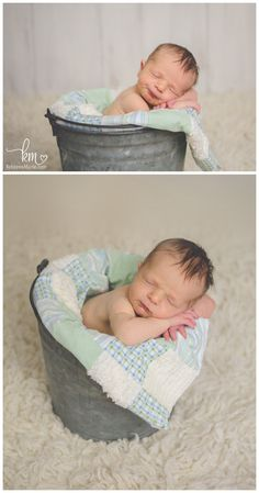 newborn in bucket - newborn boy pose
