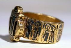 Octagonal Marriage Ring with Holy Site Scenes: Early Byzantine 7th Century