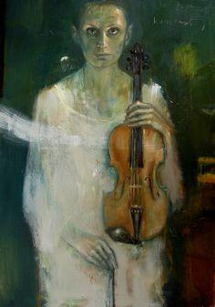 Barbara Porczyńska, Violinist, oil on canvas 2013