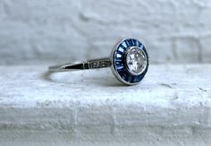 RESERVED - Vintage Art Deco Platinum Diamond and Sapphire Engagement Ring - 1.39ct. on Etsy, $2,950.00