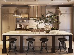 great kitchen by Nam Dang - Mitchell, great stools, and visual comfort lights