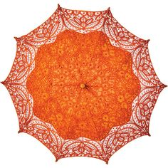 Cotton Lace Paper Parasol (31-Inch, Mango Orange) ($49) ❤ liked on Polyvore featuring accessories, umbrellas, wooden handle umbrella, orange umbrella, wood handle umbrella, paper umbrella and lace umbrella