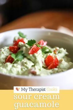 This sour cream guacamole features grated onion and garlic for tons of flavor + no chunks, and lime juice and fresh tomatoes for delicious pico + guac flavor mixed into one. If you love guacamole, you will LOVE this version. #mexican #mexicanfood #guacamole #guacamolerecipe #dip Guacamole Recipe, Vegetarian Mexican, Mexican Food Recipes, Mexican Sour Cream, Classic Restaurant, Gluten Free Recipes For Dinner, Easy Family Meals